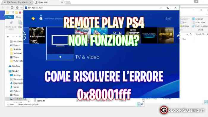 remote play ps4 non funziona, 0x80001fff ps4