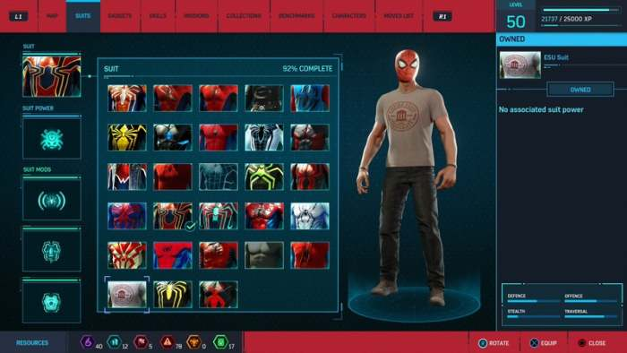 spiderman ps4 esu suit costume