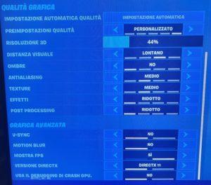 Impostazioni Fortnite GT 710